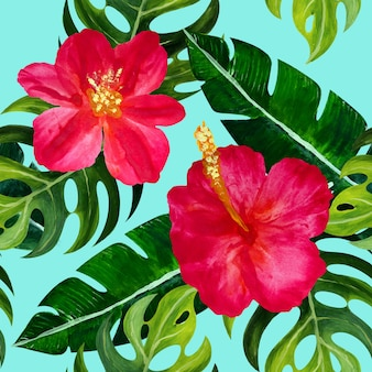 Tropikalny wzór z kwiatami.
