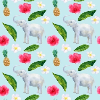 Tropikalny wzór z pięknymi różowymi czerwonymi kwiatami hibiskusa i białym frangipani lub plumeria i ananasem i słoniem. tekstura. ręcznie rysowane akwarela ilustracja.