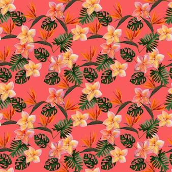 Tropikalny wzór z plumeria i strelitzia z liśćmi na koralowym tle.