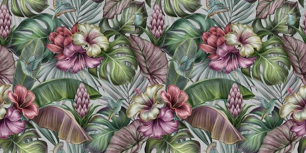 Tropikalny wzór z ptakami, hibiskusem, kwiatami protea, monstera, liście bananowca, palmy