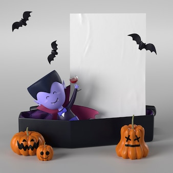Trumna z draculą na halloween