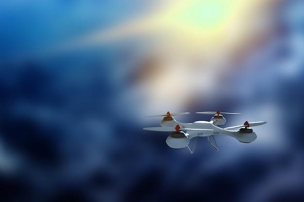 Truteń, biały quadrocopter przeciw niebu z kopii przestrzenią.