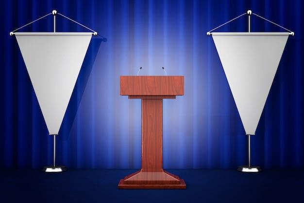 Trybuna trybuna mowy stojak z mikrofonami w pobliżu pustych flag na białym tle. renderowanie 3d