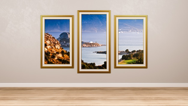 Tryptyk kos island ramka na zdjęcia w renderowaniu pokoju