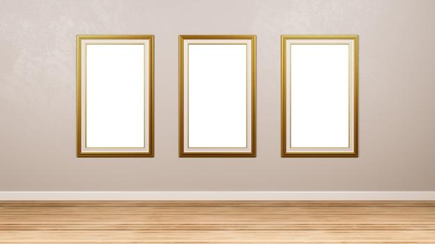 Tryptyk ze złotą pustą ramką na ścianę