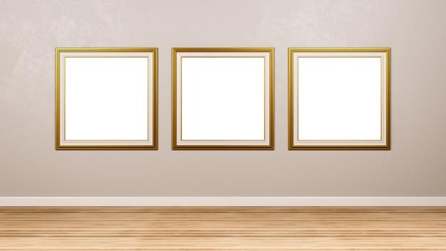 Tryptyk złoty kwadrat pusta ramka na ścianę