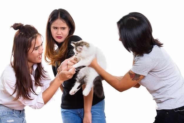 Trzech młodych azjatyckich przyjaciółek bawiących się ślicznym kotem z jednym przyjacielem, który się boi