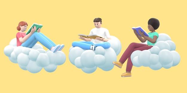 Trzej fani literatury młodzi wielokulturowi faceci i dziewczyny na niebie czytające książki na chmurze