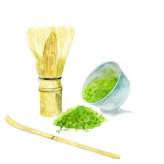 Trzepaczka i łyżka do herbaty matcha na białym tle