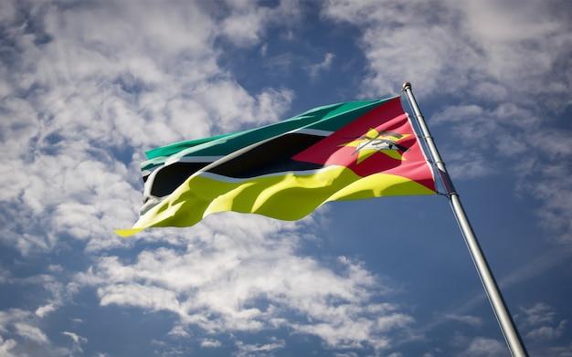 Trzepocząca piękna flaga państwowa mozambiku