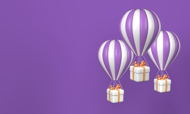 Trzy balony na ogrzane powietrze z pudełkami na fioletowym tle. skopiuj miejsce. renderowanie 3d