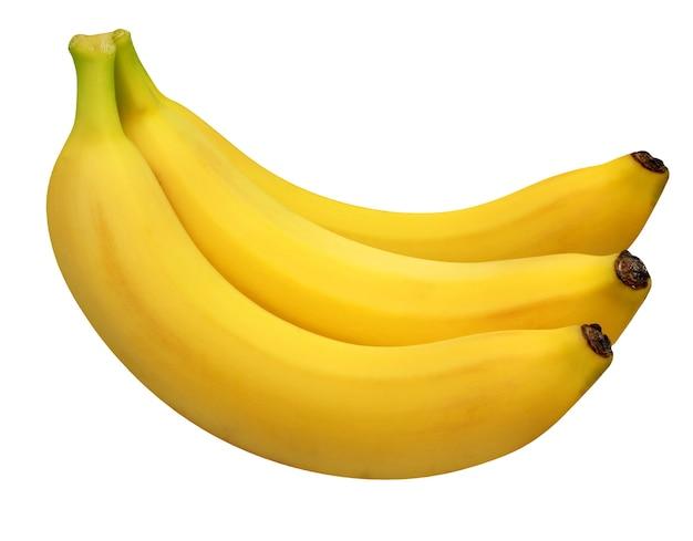 Trzy banany na białym tle. całe żółte owoce.