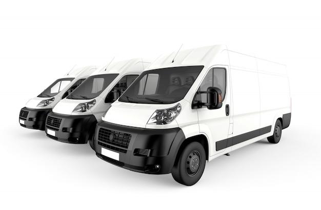 Trzy białe ciężarówki