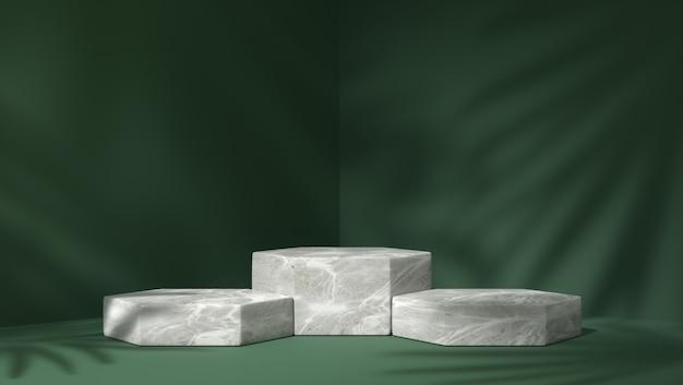 Trzy białe marmurowe sześciokątne podium do lokowania produktu w tle liści cienia
