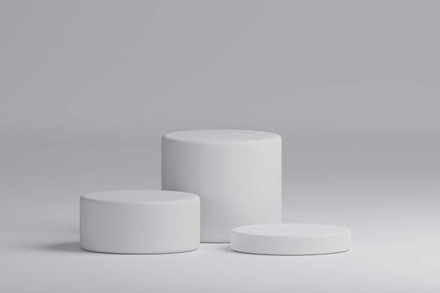 Trzy białe tło podium etapu produktu cylindra