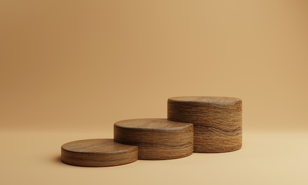 Trzy brązowe schody kształt drewniany okrągły cylinder podium etapu produktu na pomarańczowym tle