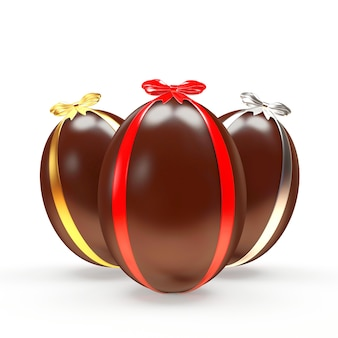 Trzy czekoladowe pisanki