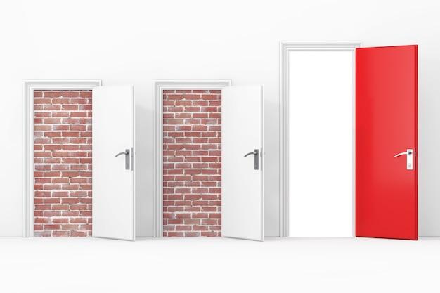 Trzy drzwi do biura biznesowego, dwoje drzwi zablokowanych ceglaną ścianą, jedno duże, główne, otwarte i czerwone drzwi z wolną ścieżką przed ścianą ekstremalne zbliżenie. renderowanie 3d