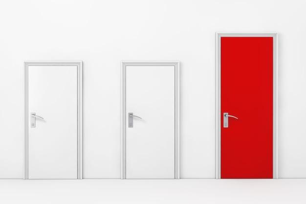 Trzy drzwi do biura biznesowego, z jednym dużym, głównym i czerwonym przed ścianą skrajnym zbliżeniem. renderowanie 3d