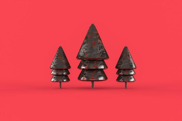 Trzy dziewczęce choinki minimalistyczna tapeta. wesołych świąt bożego narodzenia koncepcja