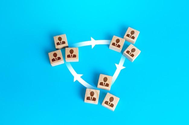 Trzy grupy ludzi są połączone liniami. interakcja i łączenie sił z innymi zespołami