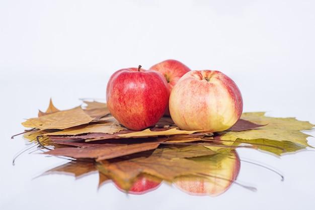 Trzy jabłka na stole z odbiciem.