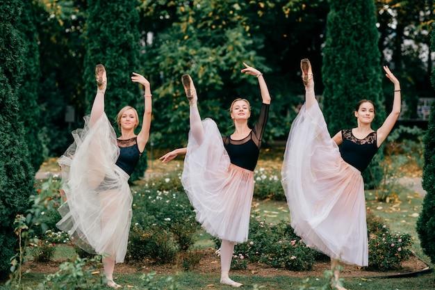Trzy kobiety baleriny tanczy i pozuje w lato parku.