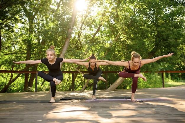 Trzy kobiety robi ćwiczenia równowagi na grupowym treningu jogi w letnim parku