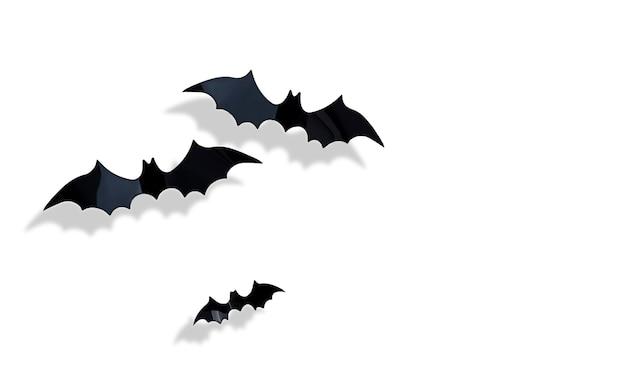 Trzy latające nietoperze na białym tle