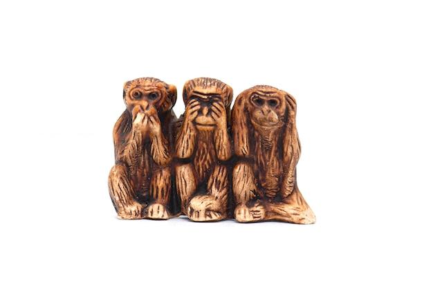 Trzy mądre małpy na białym tle