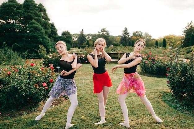 Trzy młodej pięknej baleriny pozuje z gracją w lato parku.