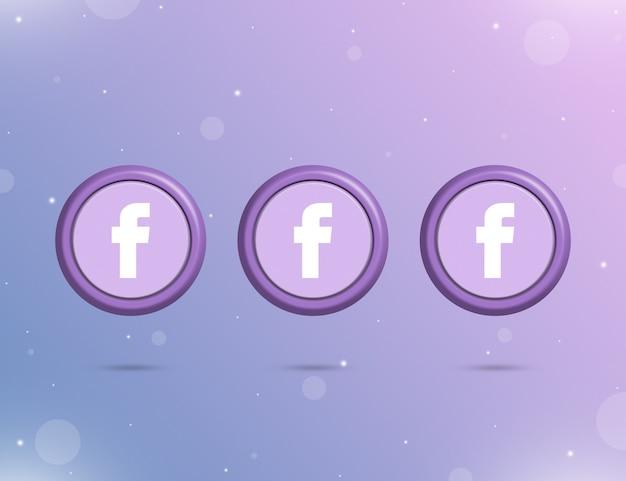 Trzy okrągłe przyciski z logo portalu społecznościowego facebook 3d