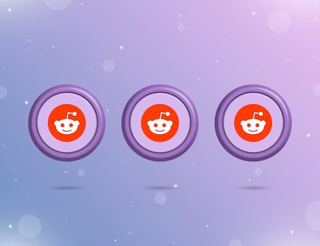 Trzy okrągłe przyciski z logo serwisu społecznościowego reddit 3d