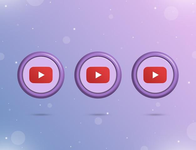 Trzy okrągłe przyciski z logo serwisu społecznościowego youtube 3d