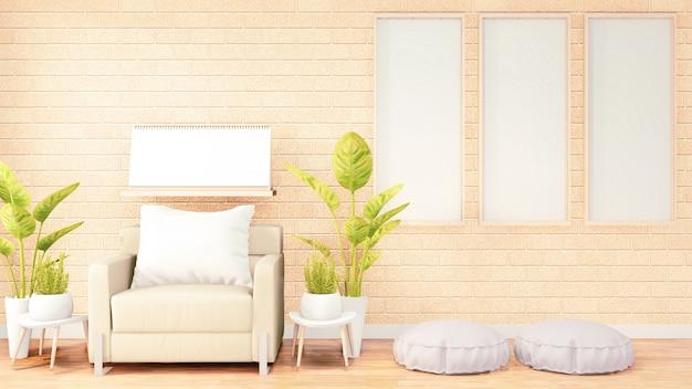 Trzy pionowe ramki do grafiki, biała pufa na wystroju pokoju na poddaszu, pomarańczowa ściana z cegły. renderowanie 3d