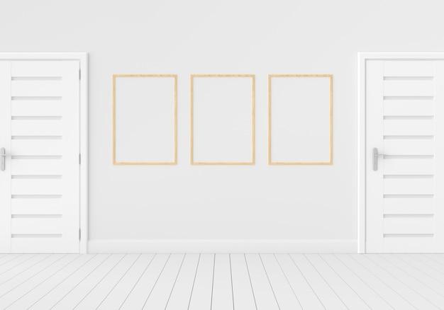 Trzy pusta rama w pustym białym pokoju dla, 3d odpłacają się, 3d