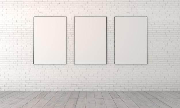 Trzy puste obrazy w ramach