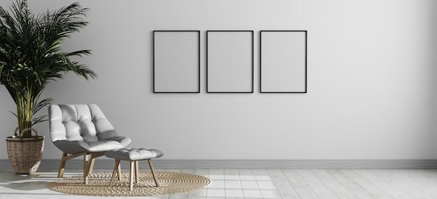 Trzy puste pionowe ramki na zdjęcia w jasnym nowoczesnym wnętrzu pokoju z szarym fotelem i palmą, pusta ściana wewnętrzna pokoju, wnętrze w stylu skandynawskim, pokój renderowania 3d
