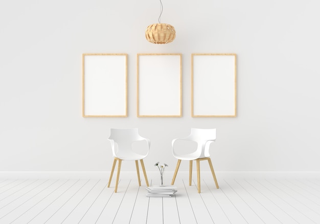 Trzy puste ramki do makiety w białym pokoju