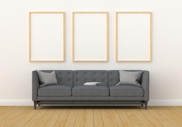 Trzy puste ramki na makiety w nowoczesnym salonie