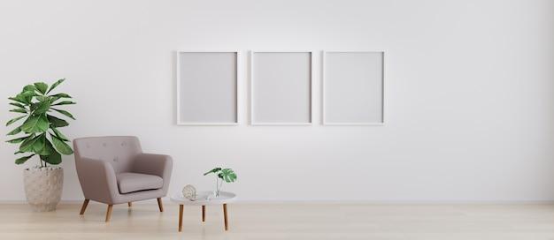 Trzy puste ramki na ścianie. wstaw swoje zdjęcie. nowoczesne wnętrze salonu