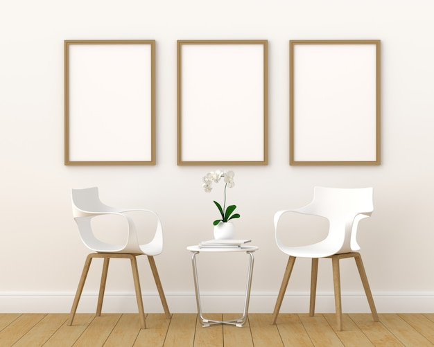 Trzy puste ramki na zdjęcia do makiety w nowoczesnym salonie, renderowania 3d, ilustracji 3d