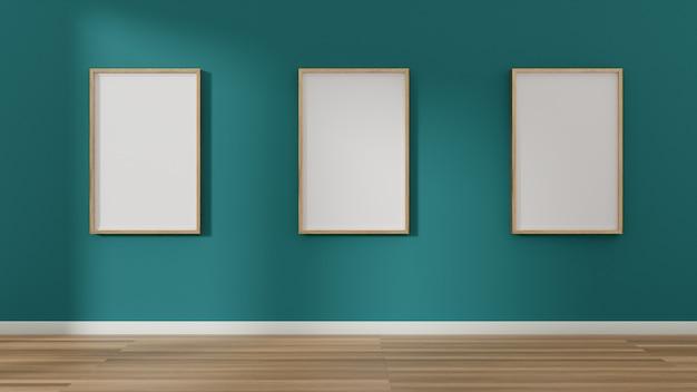 Trzy puste ramki na zdjęcia i plakaty na ścianie.