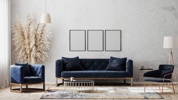 Trzy puste ramki plakatowe na makiecie szarej ściany w nowoczesnym luksusowym wnętrzu z ciemnoniebieską sofą, fotelami w pobliżu stolika kawowego, fantazyjnym dywanikiem na drewnianej podłodze, renderowanie 3d