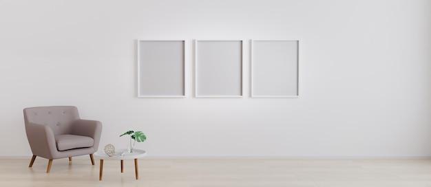 Trzy puste ramki z fotelem z białym nowoczesnym stolikiem kawowym z dekoracją w jasnym pomieszczeniu do makiety. salon z 3 pustymi ramkami na makiety. renderowania 3d