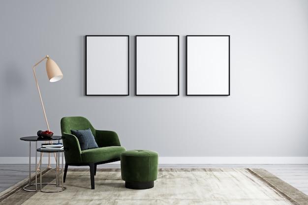 Trzy puste ramki z fotelem z nowoczesnym stolikiem kawowym z dekoracją w jasnym pomieszczeniu do makiety. salon z 3 pustymi ramkami na makiety. renderowania 3d