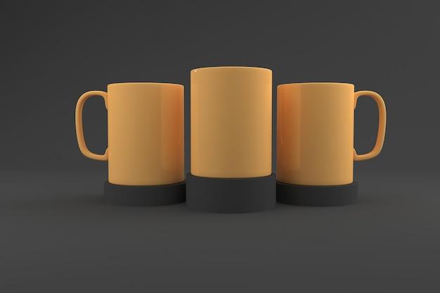 Trzy realistyczne kubki mockup 3d renderowane
