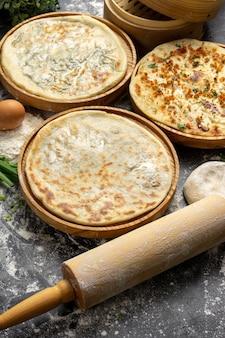 Trzy rodzaje klasycznych przaśnych podpłomyków pszennych z ziołami i serem z mąki, jajek, cebuli i wody. asortyment świeżo upieczonych produktów piekarniczych