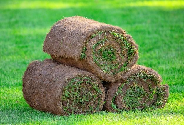 Trzy rolki trawy trawnik na podwórku w słoneczny dzień. gotowa trawa do układania, zagospodarowanie terenu w pobliżu domku.