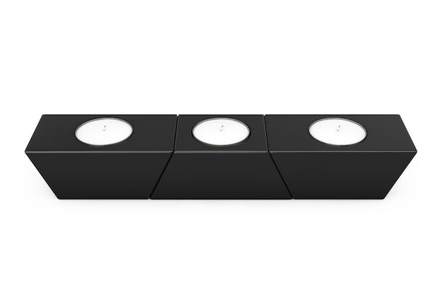 Trzy świece aroma stojące na stojaku czarny panel drewniany na białym tle. renderowanie 3d